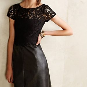 Black Grand Street Lace & Leather Fit Flare Dress